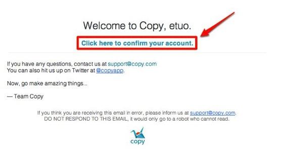 copy登録確認メール画面