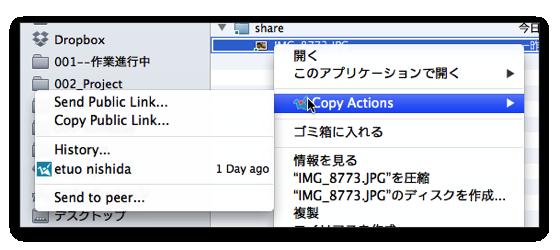 copyを使ってファイルをシェアする場合の画面