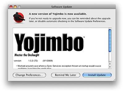 情報管理ユーティリティ「Yojimbo」のアップデートをしました。