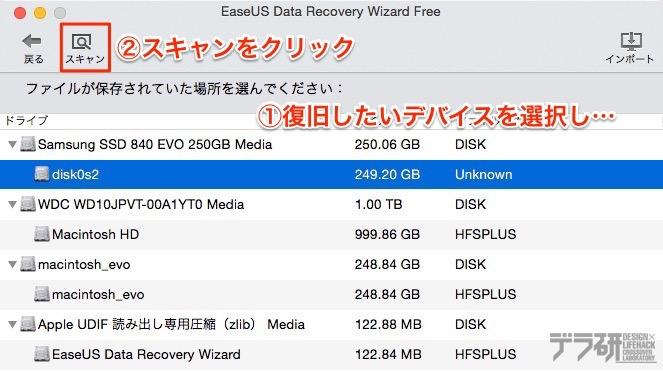 Data Recovery Wizard for Mac操作方法 デバイスの選択